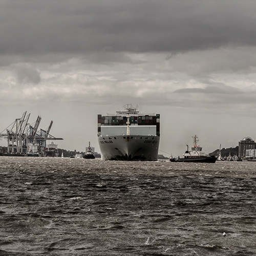 large container ship entering the harbor