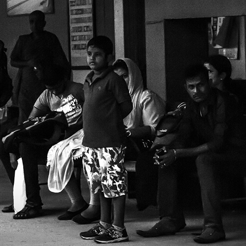 Sri lankan boy waiting for the train