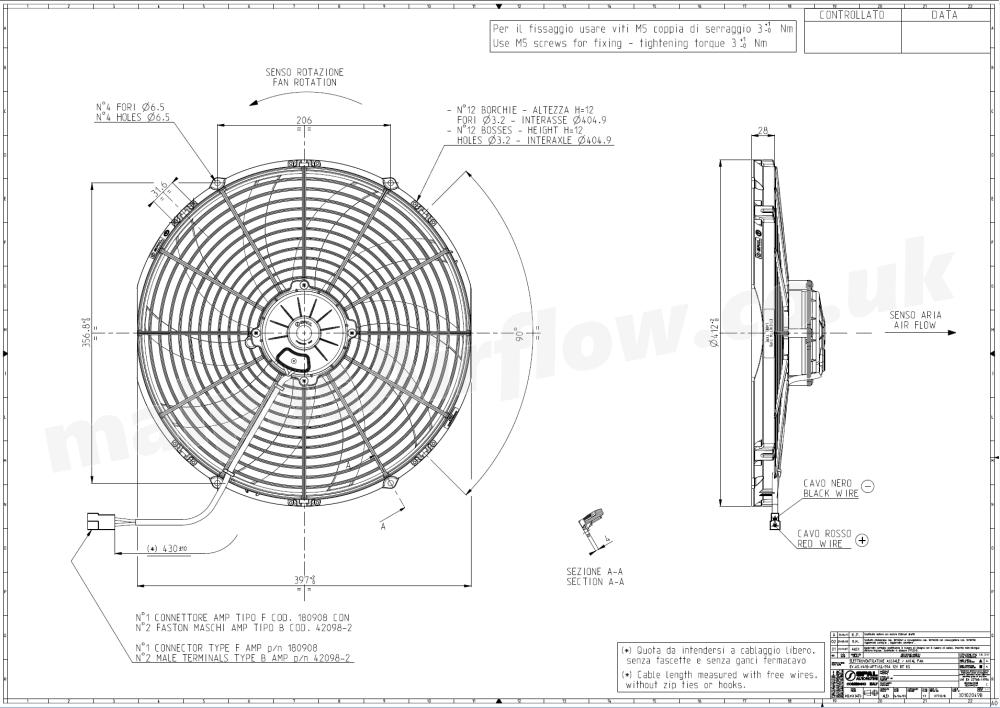 medium resolution of dimensions of spal 16 407mm cooling fan va18 ap71 ll