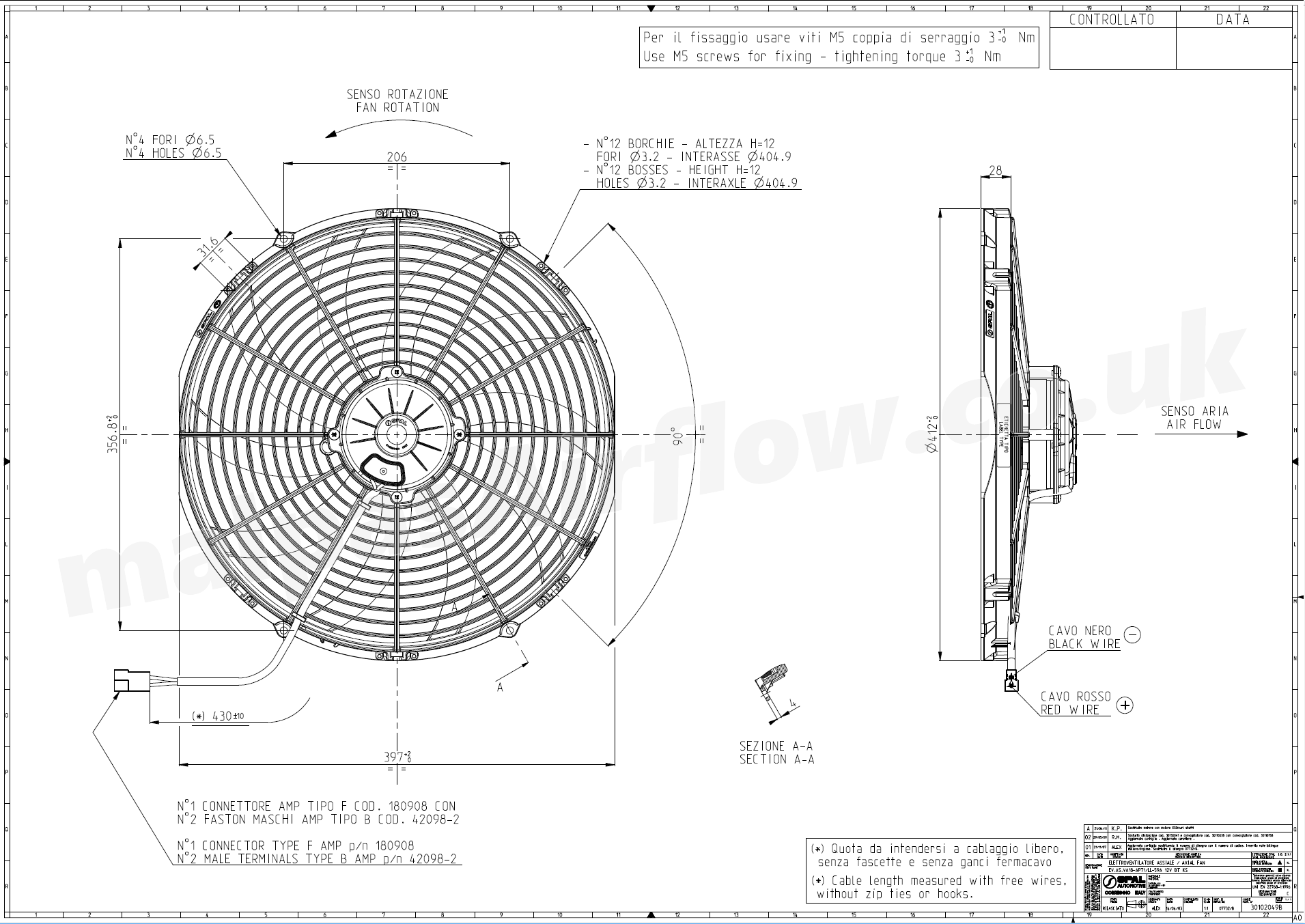 hight resolution of dimensions of spal 16 407mm cooling fan va18 ap71 ll