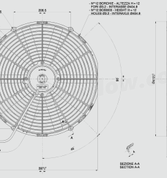 dimensions of spal 16 407mm cooling fan va18 ap10 c  [ 1997 x 1330 Pixel ]