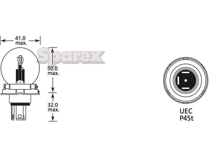 S.109984 Head Light Bulb, 12V, 40W Watts, P45t Base for