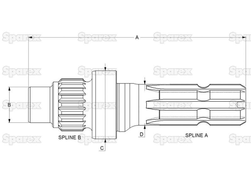 S.260196 Transmission PTO Output Shaft for Case IH, Ford