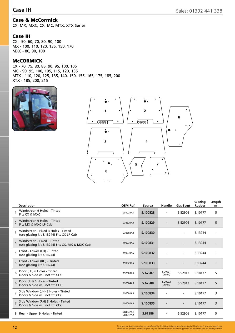 hight resolution of parts lists cab glass case ih page 14