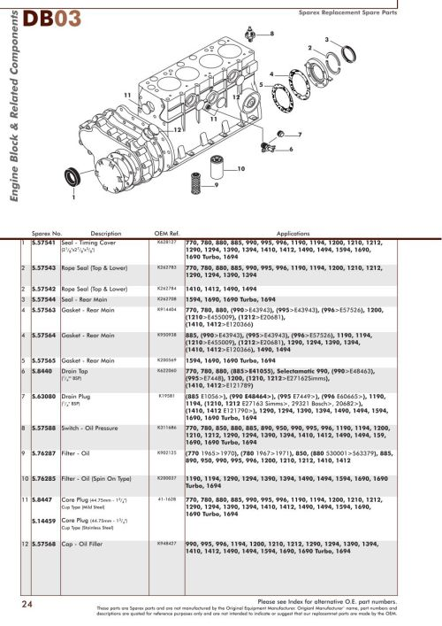 small resolution of parts lists david brown engine page 26