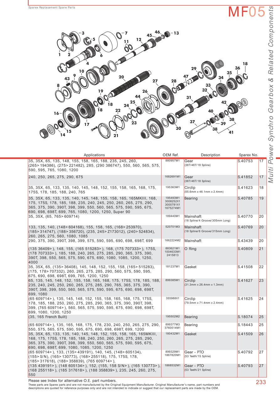 massey ferguson 240 parts diagram bosch relay 12v 30a wiring 175 transmission great installation pto page 243 sparex lists rh malpasonline co uk diesel list