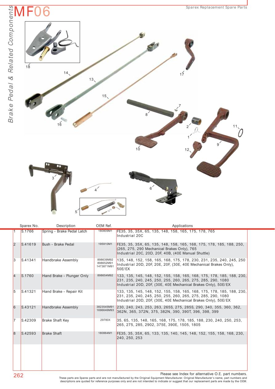 massey ferguson 135 parts diagram shunt trip wiring brakes (page 272)   sparex lists & diagrams malpasonline.co.uk