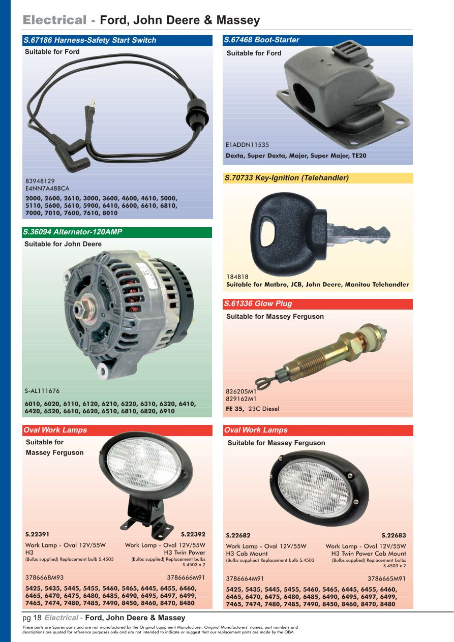 hight resolution of parts lists oe new products contents page 20
