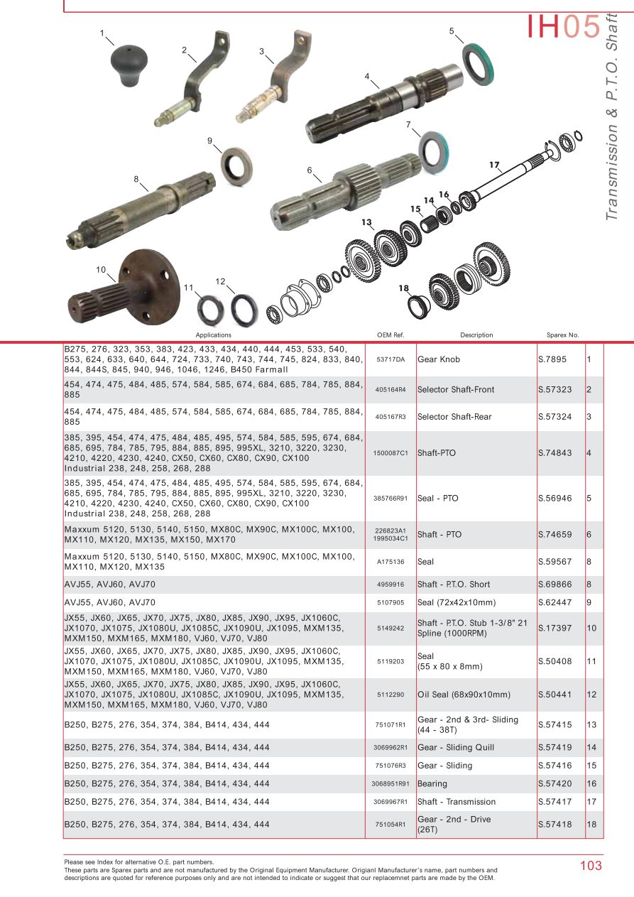 medium resolution of case ih catalogue transmission pto page 109 sparex parts lists farmall international tractor