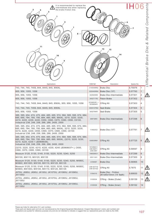 small resolution of parts lists case ih catalogue brakes page 113