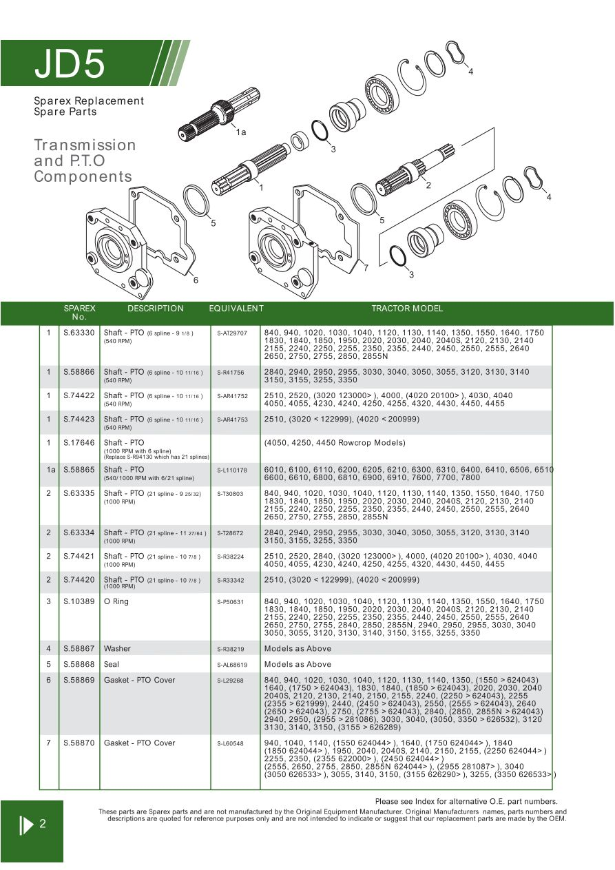hight resolution of john deere transmission pto components page 74 sparex parts john deere 4320 pto parts diagram
