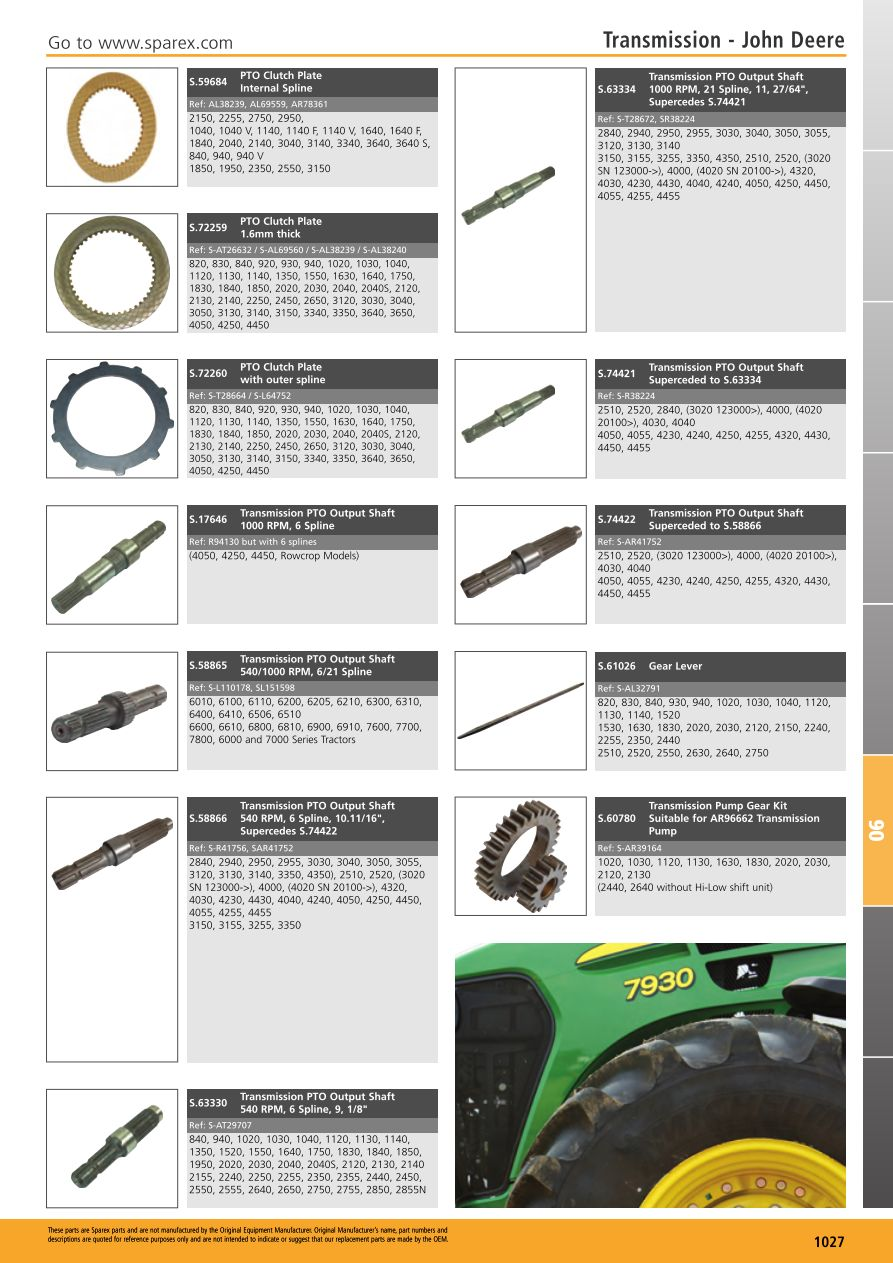 hight resolution of parts lists tractor parts volume 1 transmission page 1029