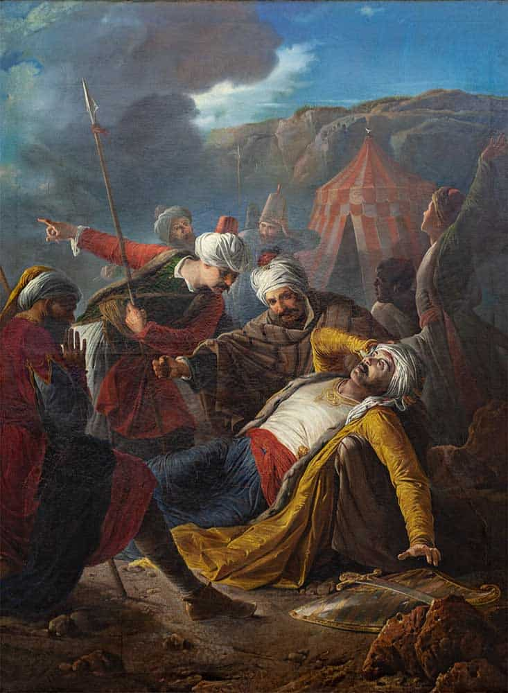 A scene from the Great Siege of Malta: The oil painting of Death of Dragut by Giuseppe Calì (1867).