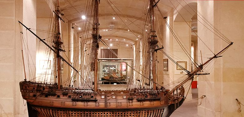 Ship model on display at the Malta Maritime Museum in Birgu.