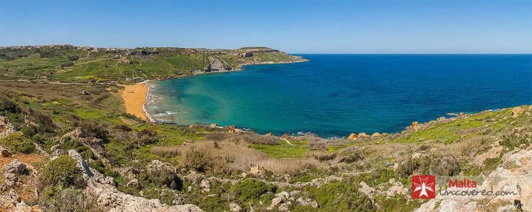 Ramla l-Hamra beach in Gozo, viewed from the west