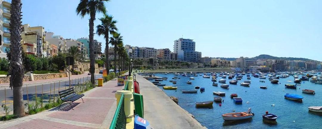 Small boats line the bay at St. Paul's Bay, Malta.