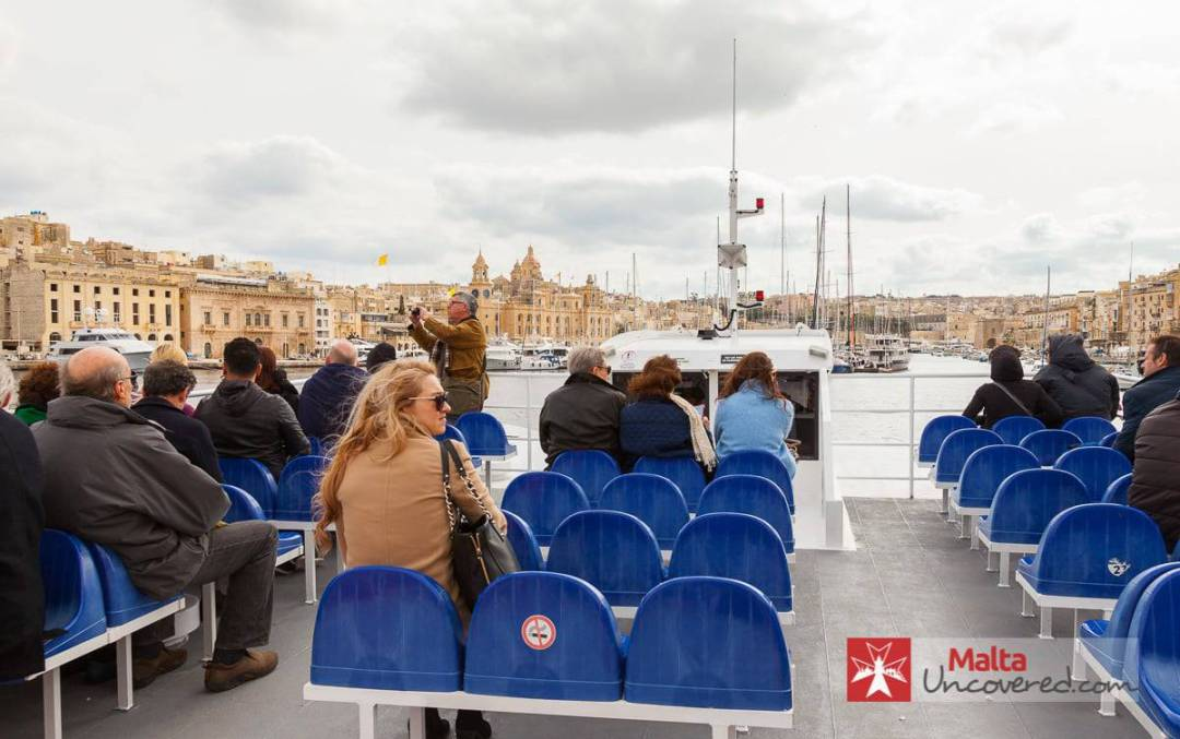 Crossing over to the Three Cities from Valletta using the ferry service.