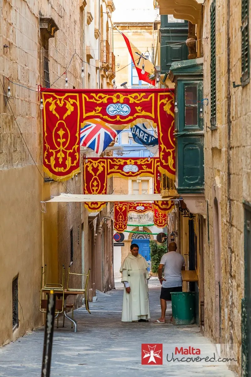A small street in Valletta decorated for a local (religious) village feast.