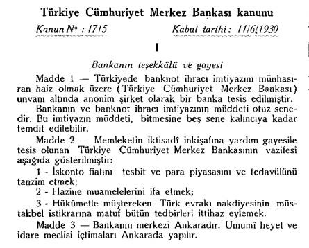 1715 sayılı tcmb kanunu