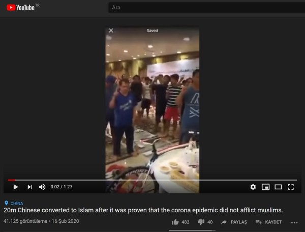 20 Milyon Çinlinin Müslüman olduğu iddiasının ve ilgili video kaydının kaynağının Türkiye dışından olduğu anlaşılıyor