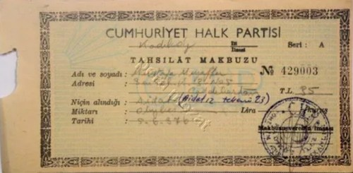 429003 nolu boş CHP tahsilat makbuzu