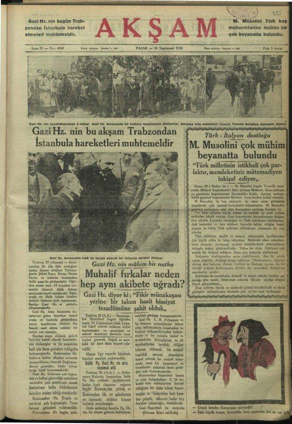 """Akşam Gazetesinde """"Gazi Hz. Amasyada halk ile temas ederek bir ihtiyarın derdini dinliyor"""" alt başlığıyla yayınlanan fotoğrafın yer aldığı sayfa"""