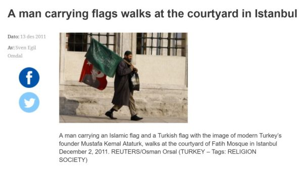 Man Carrying Islamic Flag and Ataturk picture