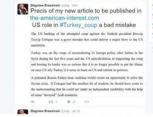 Zbigniew Brzezinski twitter darbe