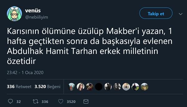 Abdülhak Hamit Tarhan'ın Ardından Makberi Yazdığı Eşinin Taziyesinde Tanıştığı Kadınla Hemen Evlendiği İddiasını İçeren Bir Tweet