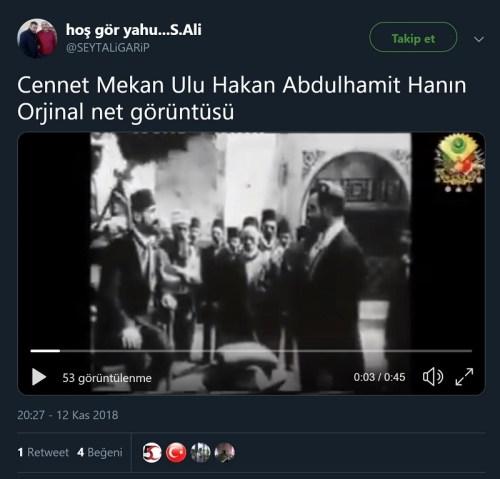Theodor Herzl'in 2. Abdülhamid'in önünde diz çöktüğü ana ait olduğu iddiasıyla paylaşılan video kaydını içeren paylaşım