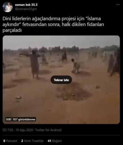 ağaçlandırma islama aykırı fetva iddiası