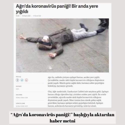 """19 Mart 2020 tarihinde çeşitli haber sitelerinde """"Ağrı'da koronavirüs paniği!"""" başlığıyla aktarılan haber met"""