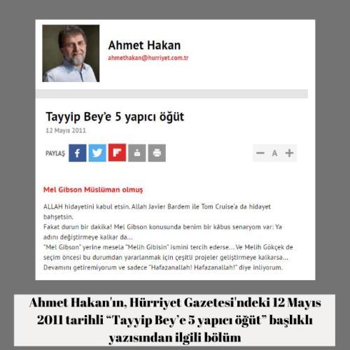 """Ahmet Hakan'ın Hürriyet Gazetesindeki """"Tayyip Bey'e 5 yapıcı öğüt"""" başlıklı 12 Mayıs 2011 tarihli yazısı"""