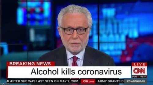 Alkolün koronavirüsü öldürdüğü iddiasını içeren montaj TV ekran görüntüsü