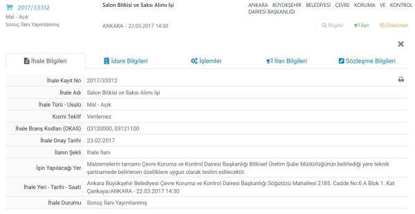 Ankara Büyükşehir Belediyesi'nin 2017/33312 nolu ihalesi