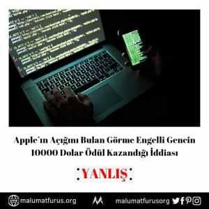appleın açığını bulan görme engelli genç haberi