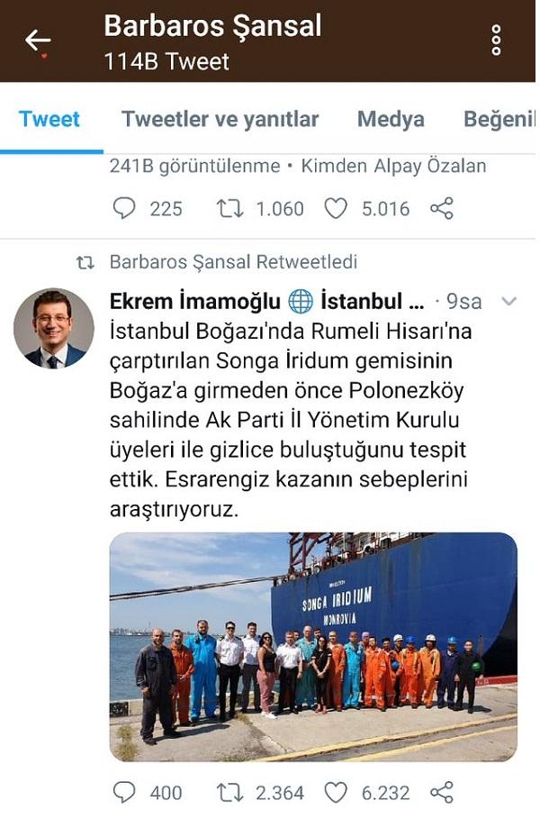 Barbaros Şansal, Ekrem İmamoğlu'nu taklit eden bir parodi hesaptan atılan tweeti paylaşmıştı
