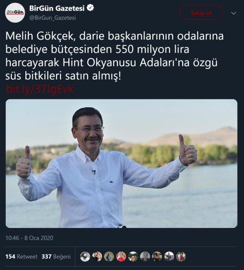 Birgün Gazetesinin Melih Gökçek'in Belediye'deki daire başkanlarının makam odalarının süslemesi için 550 milyon TL harcama yaptığını öne sürdüğü haber paylaşımı
