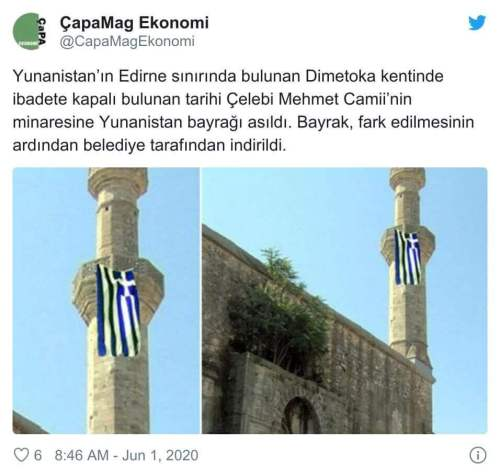 camisinin minaresine Yunanistan bayrağı asıldı