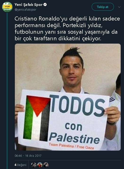 Christiano Ronaldo'nun Filistin'e destek mesajı içeren pankartla fotoğraf çektirdiğini iddia eden tweet