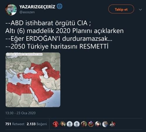 CIA'nın 2040 / 2050 Türkiye haritası sanılan görseli içeren paylaşım