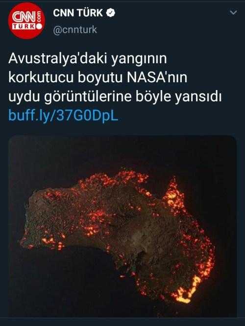 CNN Türk'ün Avustralya'da meydana gelen yangınların uzayda görüntüsü olduğu sanılan görseli içeren haberi