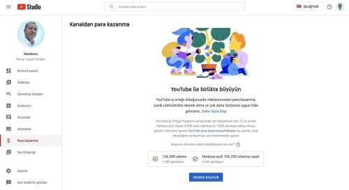cumhurbaşkanı erdoğan youtube kanalı para kazanma