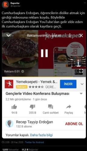 Cumhurbaşkanı Erdoğan'ın Youtube kanalına reklâm