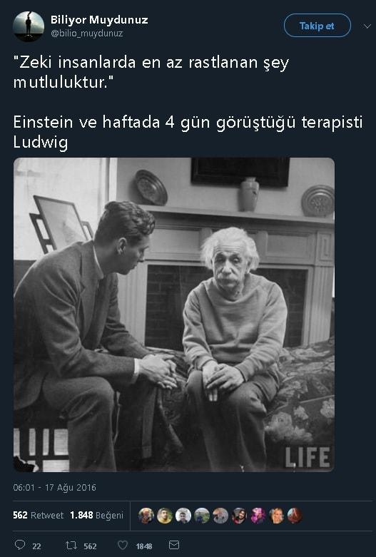 Fotoğrafta Einstein ve Terapisti Ludwig'in Yer Aldığı İddia Edilen Sosyal Medya Paylaşaımı