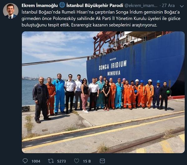 Ekrem İmamoğlu'nu taklit eden bir parodi hesaptan yapılan İstanbul Boğazı'nda kaza yapan gemi personelinin kazadan önce Ak Partili yetkililerle görüşme yaptığı iddiasını içeren paylaşım İmamoğlu'nu taklit eden bir parodi hesabın uydurmasıydı