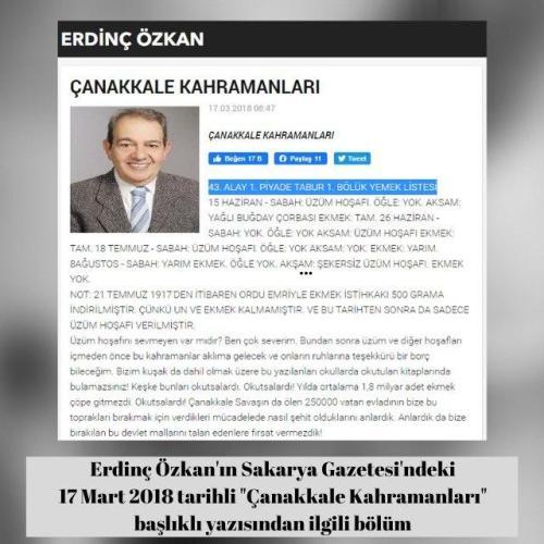 """Sakarya Gazetesi'nden Erdinç Özkan'ın 17 Mart 2018 tarihli """"Çanakkale Kahramanları"""" başlıklı yazısı"""