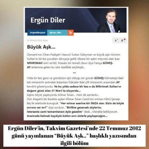 """Ergün Diler'in Takvim Gazetesi'nde 22 Temmuz 2012 günü yayınlanan """"Büyük Aşk.."""" başlıklı köşe yazısı"""