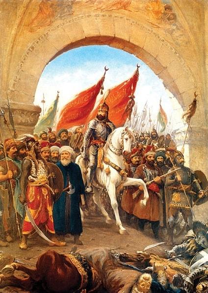 Fatih Sultan Mehmet'in İstanbul'un Fethinin Ardından Şehre Topkapı'dan Beyaz At Üzerinde Girişini Gösteren Resim