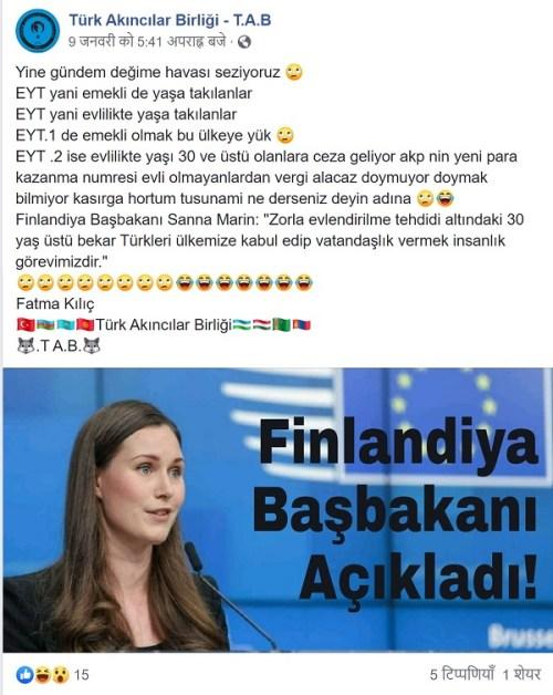 Finlandiya Başbakanının 30 yaş üstü bekar Türkleri ülkesine davet ettiği iddiasını içeren paylaşım